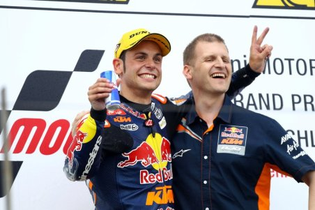 GEPA-08071298108 - OBERLUNGWITZ,GERMANY,08.JUL.12 - MOTORSPORT - MotoGP, Grand Prix of Germany, Sachsenring, Moto3. Image shows Sandro Cortese (GER) and Aki Ajo (KTM). Keywords: award ceremony, podium. Photo: GEPA pictures/ Gold and Goose/ David Goldman - For editorial use only. Image is free of charge.